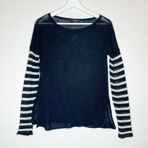 Acrobat blue linen sweater striped sleeves